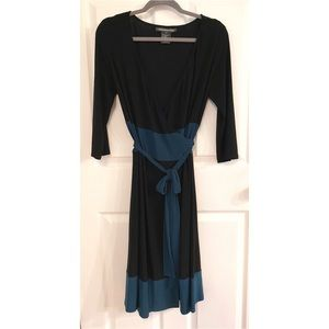 Jones Wear Black & Teal Wrap Dress